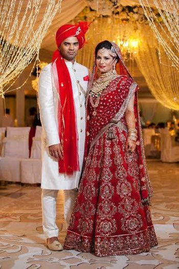 Photo of deep red bridal lehenga in velvet