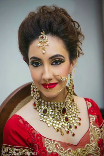Red and Gold Bridal Jewellery with Statement Necklace