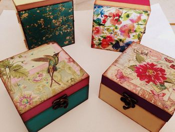 floral print and bird print boxes with watercolor effect