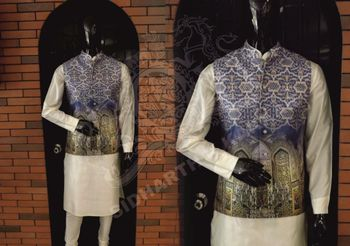 textured offbeat nehru jacket with motif and self embossing over white kurta
