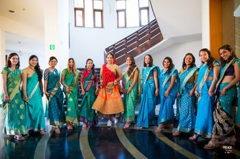 Bride with Matching Bridesmaids in Blue Sarees