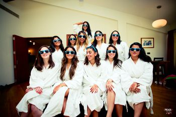 Bride and Bridesmaids in Robes and Sunglasses