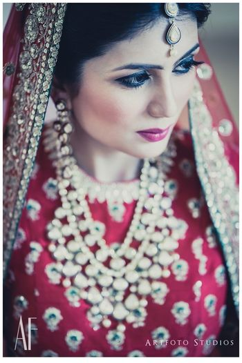 Bridal portrait with red