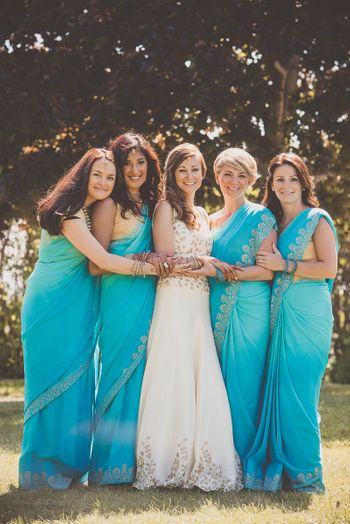 Coordinated bridesmaid sarees