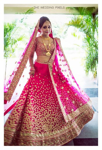 Bright Pink and Gold Sequin Work Lehenga