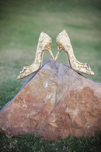 Photo of Gold Lace Bridal Shoes