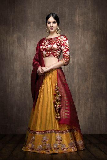 Mustard silk lehenga with red benarasi blouse