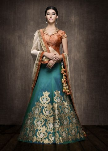 Blue lehenga with brown blouse and dupatta