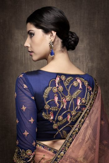 Pink Saree with Purple Blouse with Aviary Embroidery