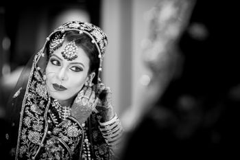 Black and White Portrait of Bride Getting Ready