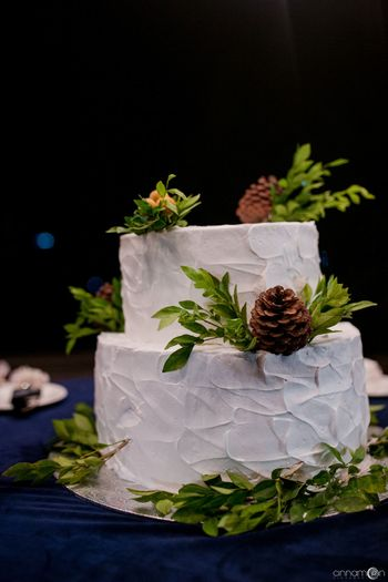 Photo of Two-tiered cake decorated with leaves.