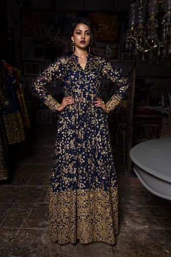 Navy Blue Gown with Gold Sequin Work and Embroidery