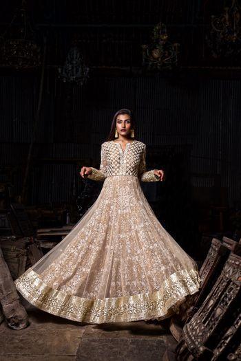 Light Grey Net Anarkali with Sequin Work