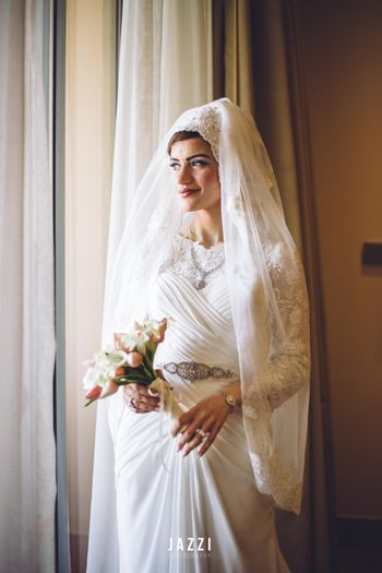 White Wedding Gown with Hijab type Veil