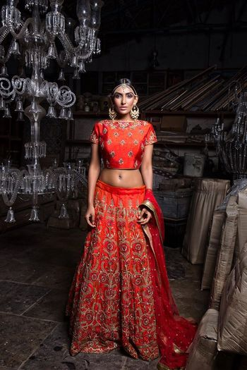 Red bridal lehenga with floral embroidery