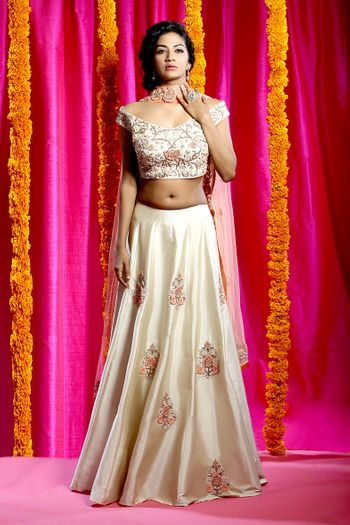 Lehenga with floral thread work and off shoulder blouse