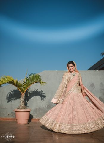 Light pink lehenga with sequin work