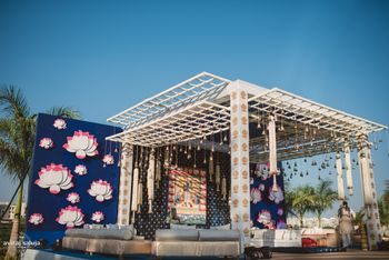 Modern mandap with prints and lotus cutouts