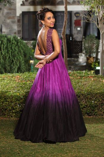 Photo of Purple and black dip dyed gown for cocktail