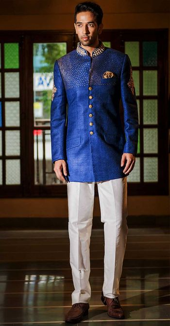 Blue bandhgala with gold embroidery