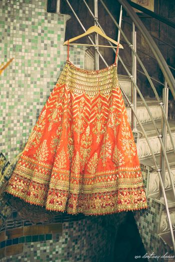 Orange Gota Patti lehenga