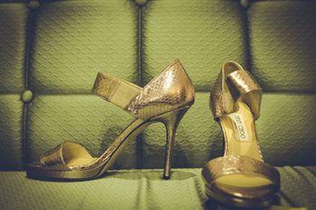Gold jimmy choo heels for bride
