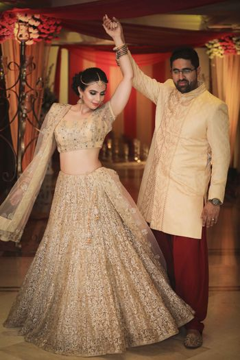 Gold thread and sequin work lehenga for engagement