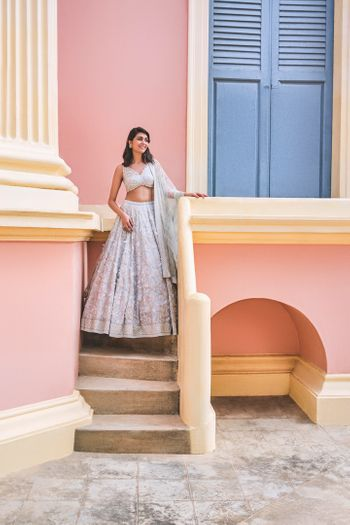 Photo of A powder blue lehenga.