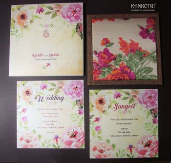 Watercolour floral print invitation cards