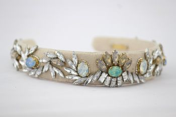 grey and mint hairband with jewel detailing
