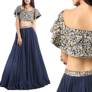 Navy blue light lehenga with cape and silver motifs