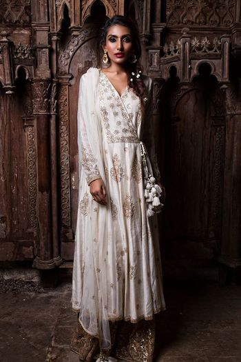 White anarkali with tassels and gold sequin sharara