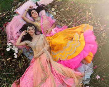 Brightly colored lehengas by Anushree Reddy