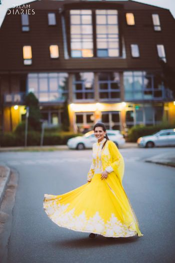 Yellow lehenga with full sleeved jacket