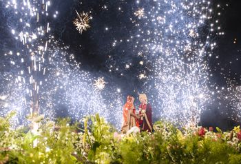 Wedding shot with fireworks