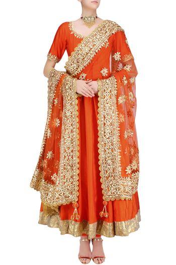 Orange and gold anarkali for sister of the bride