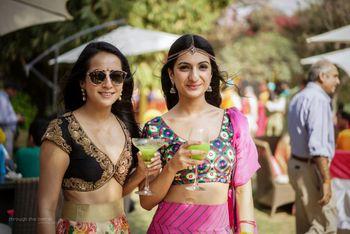 Trendy bridesmaids in crop tops