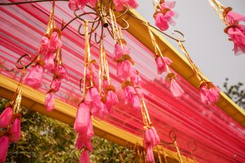 Bright pink tassels hanging in decor