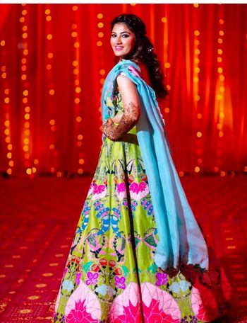 Bright Mehndi lehenga ideas