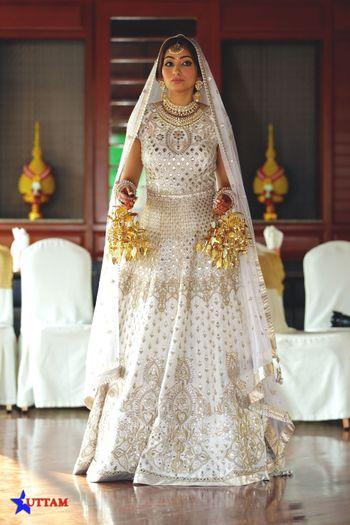 Floor length bridal off white anarkali