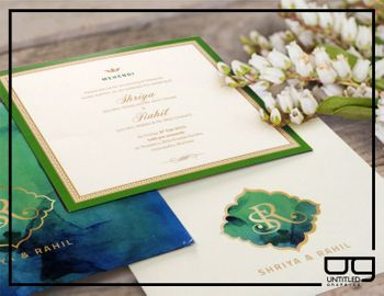 Photo of green and gold mehendi invite