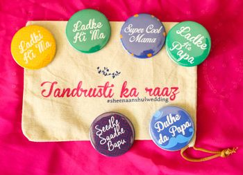 Colourful badges for bride's and groom's party