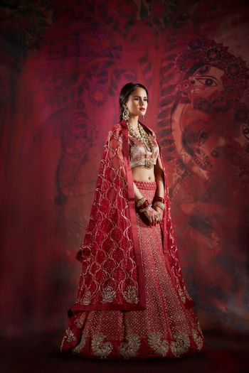Red and Pink Wedding Lehenga by Jade