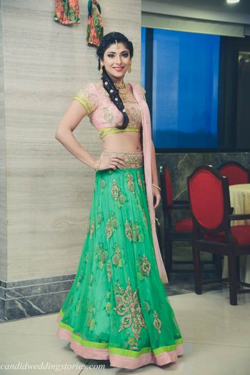 Light green floral print lehenga with blush pink blouse