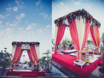 Light pink and red outdoor mandap