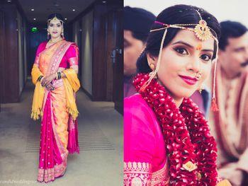 Bright pink marathi bridal look