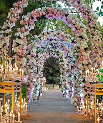 Floral archway decor.