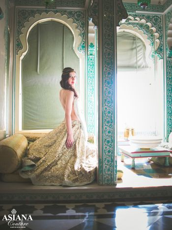 Photo of sparkly sequinned mint green lehenga with white