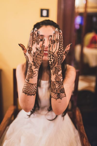 Photo of Backhand mehndi design with intricate designs.