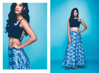 Photo of Shaded Blue Skirt with Dark Blue Crop Top for Mehendi